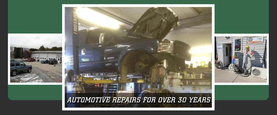 Automotive Repairs for Over 30 Years - truck hoisted in the air